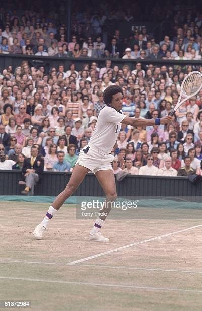 Tennis Wimbledon USA Arthur Ashe in action during match at All England Club London England 6/29/19757/7/1975