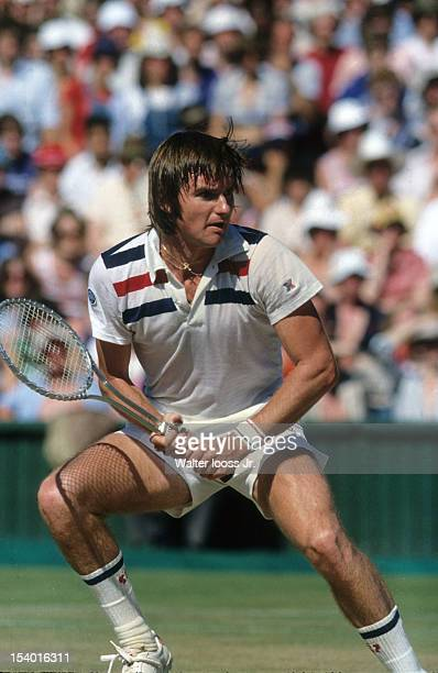Wimbledon USA Jimmy Connors in action vs Sweden Bjorn Borg during Men's Final at All England Club London England 7/3/1977 CREDIT Walter Iooss Jr