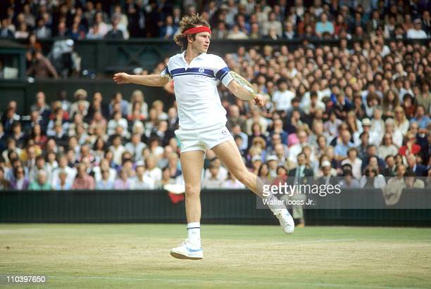 Wimbledon USA John McEnroe in action vs Sweden Bjorn Borg during Men's Final at All England ClubLondon England 7/4/1981CREDIT Walter Iooss Jr