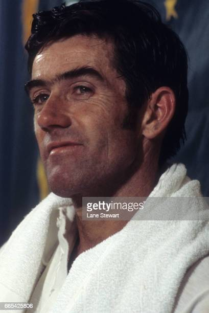 World Championship Tennis Closeup of Australia Ken Rosewall victorious in the clubhouse after defeating Rod Laver at Moody Coliseum Dallas TX CREDIT...