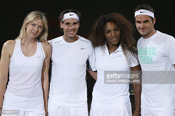 Tennismen and tennis women Spanish Rafael Nadal Swiss Roger Federer Russian Maria Sharapova and US Serena Williams pose before performing for...