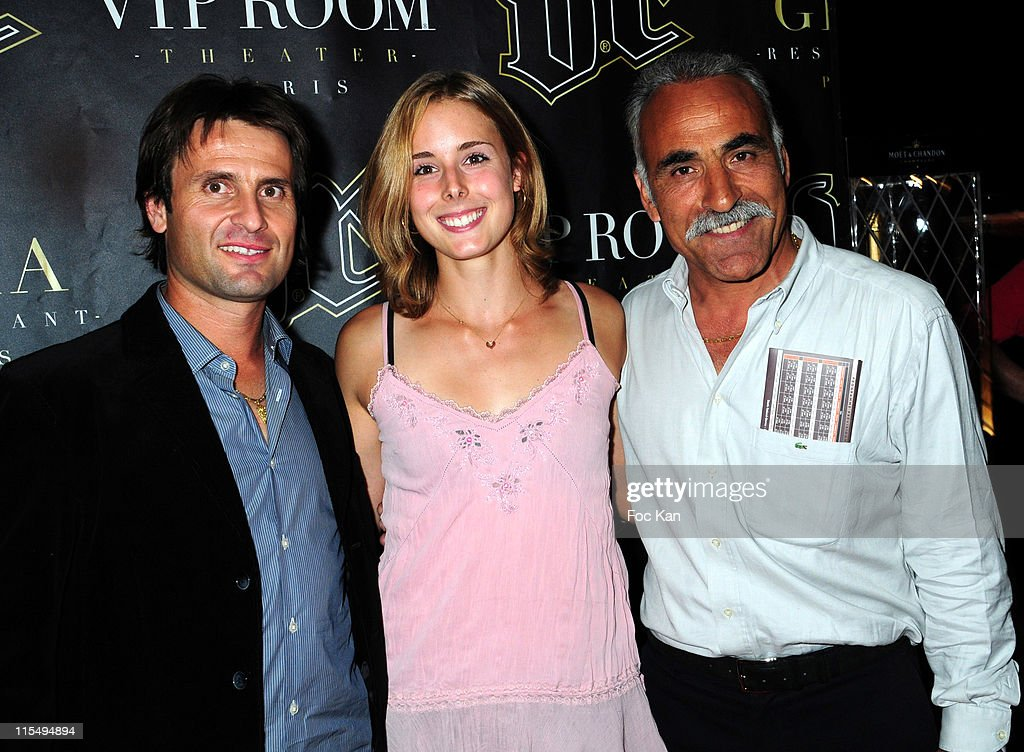 Tennismen and tenniswoman <a gi-track='captionPersonalityLinkClicked' href=/galleries/search?phrase=Fabrice+Santoro&family=editorial&specificpeople=206131 ng-click='$event.stopPropagation()'>Fabrice Santoro</a>, Alize Cornet and Mansour Bahrami attend the Mansour Bahrami's Roland Garros Party at the VIP Room Theater on May 29, 2009 in Paris, France.
