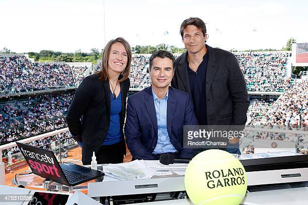Tenniswoman Justine Henin Sports Journalist Laurent Luyat and Rugbyman Francois TrinhDuc attends the French Tennis Open 2015 at Roland Garros on May...