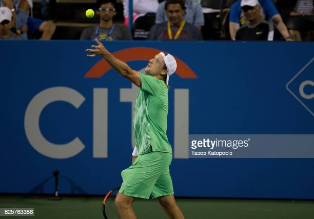 Tennys Sandgren of USA compeets with Nick Kyrgios of Australia at William HG FitzGerald Tennis Center on August 2 2017 in Washington DC