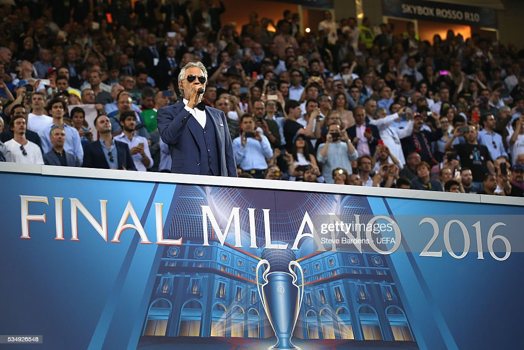 Tenor <a gi-track='captionPersonalityLinkClicked' href=/galleries/search?phrase=Andrea+Bocelli&family=editorial&specificpeople=211558 ng-click='$event.stopPropagation()'>Andrea Bocelli</a> performs prior to the UEFA Champions League Final between Real Madrid and Club Atletico de Madrid at Stadio Giuseppe Meazza on May 28, 2016 in Milan, Italy.