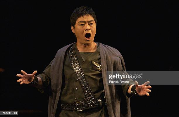 Tenor Ding Yi performing during the last dress rehearsal of Bellini's 'Norma' at the Sydney Opera House June 23 2004 in Sydney Australia