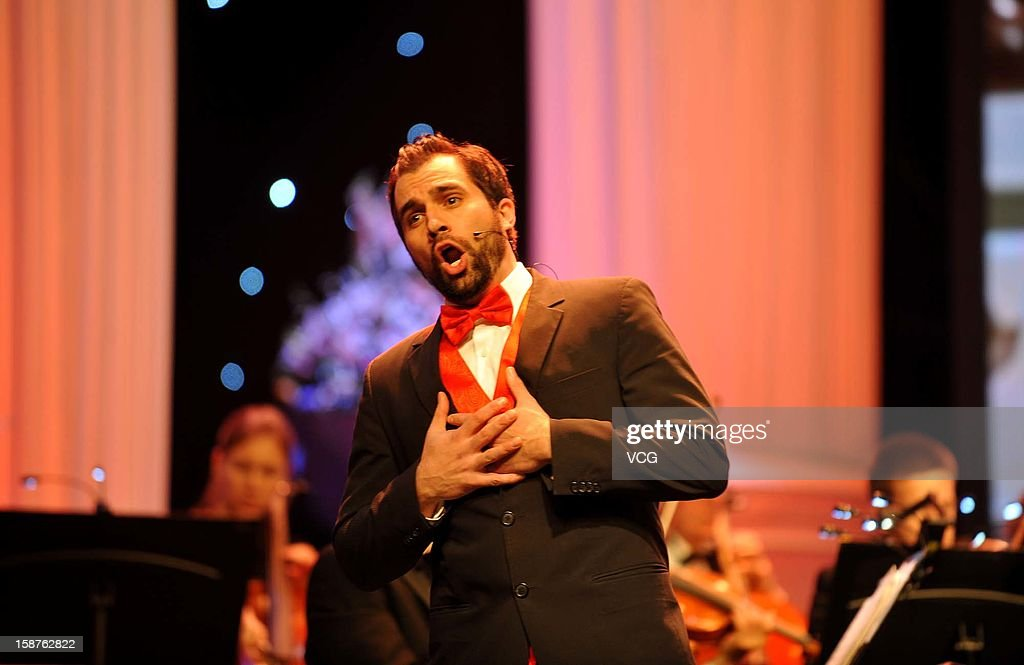 Tenor Gennard Lombardozzi and American Hollywood Film Orchestra perform on the stage during Chongqing New Year Concert at Chongqing Grand Theatre on December 27, 2012 in Chongqing, China.