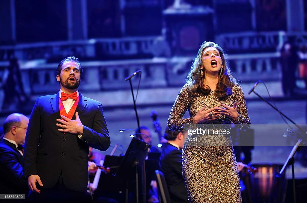 Tenor Gennard Lombardozzi, soprano Michele Sexton and American Hollywood Film Orchestra perform on the stage during Chongqing New Year Concert at Chongqing Grand Theatre on December 27, 2012 in Chongqing, China.