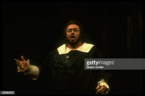 Tenor Luciano Pavarotti singing the role of Edgardo in Donizetti's 'Lucia di Lammermoor' on stage at the Metropolitan Opera