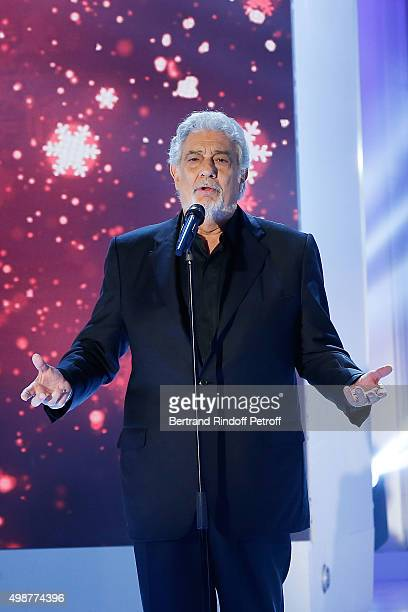 Tenor Opera Singer Placido Domingo performs during 'Vivement Dimanche' TV Show at Pavillon Gabriel on November 25 2015 in Paris France