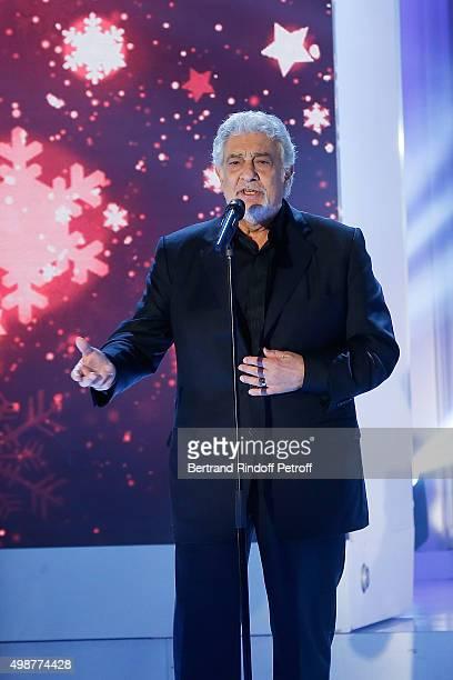 Tenor Opera Singer Placido Domingo performs during 'Vivement Dimanche' TV Show at Pavillon Gabriel on November 25 2015 in Paris France
