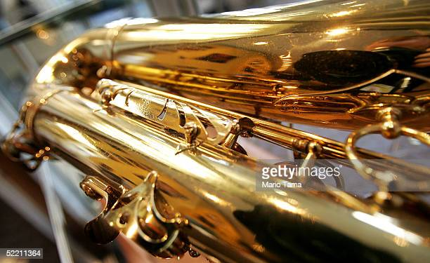 A tenor saxophone owned by John Coltrane is seen during a press preview for Jazz The Auction in the new headquarters of Jazz at Lincoln Center...