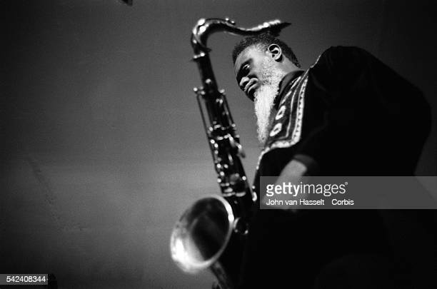 Tenor saxophonist Pharaoh Sanders performs at the New Morning club in Paris France