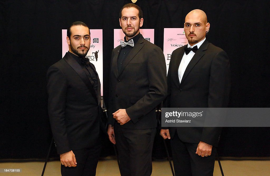 Tenor Stefano Tanzillo, Angelo Fiore and Michele Silvestri attend the 'Voices Of Italy' press preview on October 15, 2013 in New York, United States.