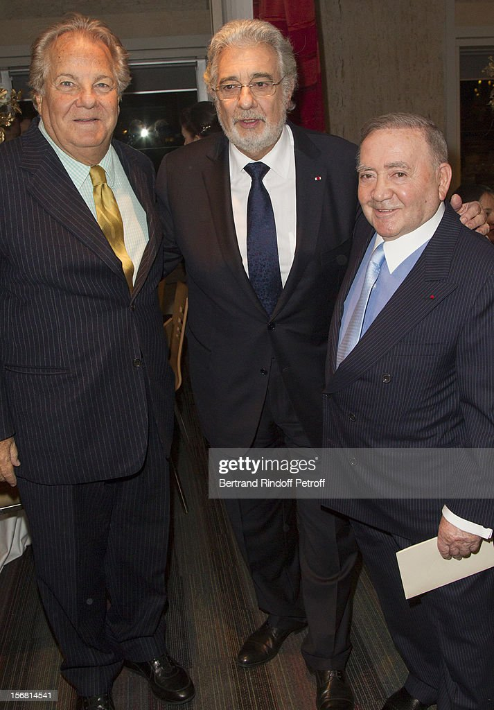Tenor/conductor Placido Domingo (C), Levon Sayan (R) and <a gi-track='captionPersonalityLinkClicked' href=/galleries/search?phrase=Massimo+Gargia&family=editorial&specificpeople=614932 ng-click='$event.stopPropagation()'>Massimo Gargia</a> attend Domingo's induction ceremony as Goodwill Ambassador of UNESCO at UNESCO on November 21, 2012 in Paris, France.