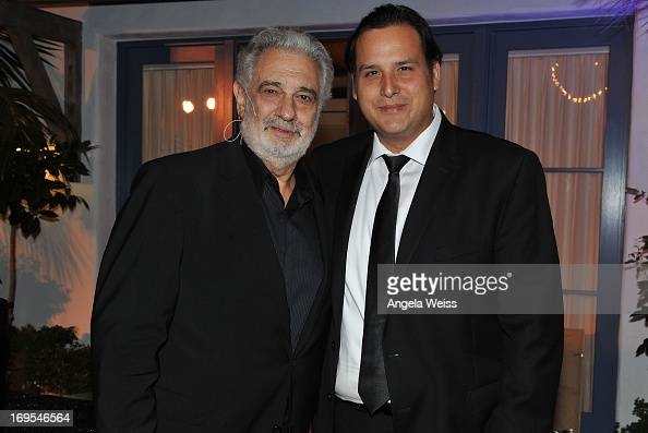Tenors Placido Domingo and Cesar Sanchez attend an Unforgettable Evening benefiting The Alzheimer's Association hosted by Grey Goose at a Private...