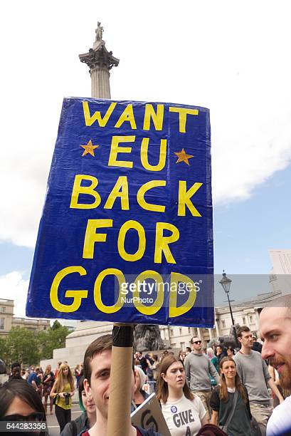Tens of thousands demonstrated in a 'March For Europe Event' on July 2 2016 in London England The march is in protest at the result of the EU...