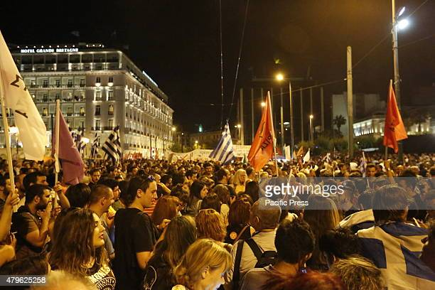 SQUARE ATHENS ATTICA GREECE Tens of thousands of Greeks have come to SYntagma Square to celebrate the win of the 'Oxi' side of the referendum Tens of...
