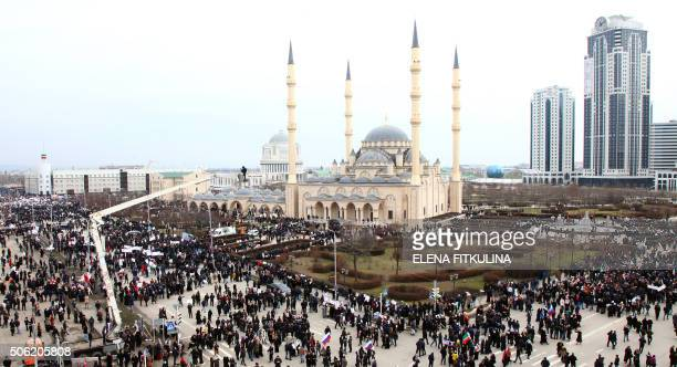 TOPSHOT Tens of thousands of people gather in central Grozny capital of Russia's North Caucasus region of Chechnya on January 22 2016 for a mass...