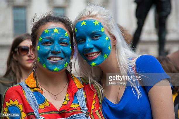 Tens of thousands of people gather in Parliament Square during the March for Europe against Brexit demonstration following a Leave result in the EU...
