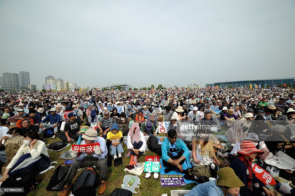 Tens of thousands of people gather to protest newly enforced security laws arguing that the security laws violate Japan's pacifist constitution and damage the Japanese people's right to peaceful survival on May 3, 2016 in Tokyo, Japan.