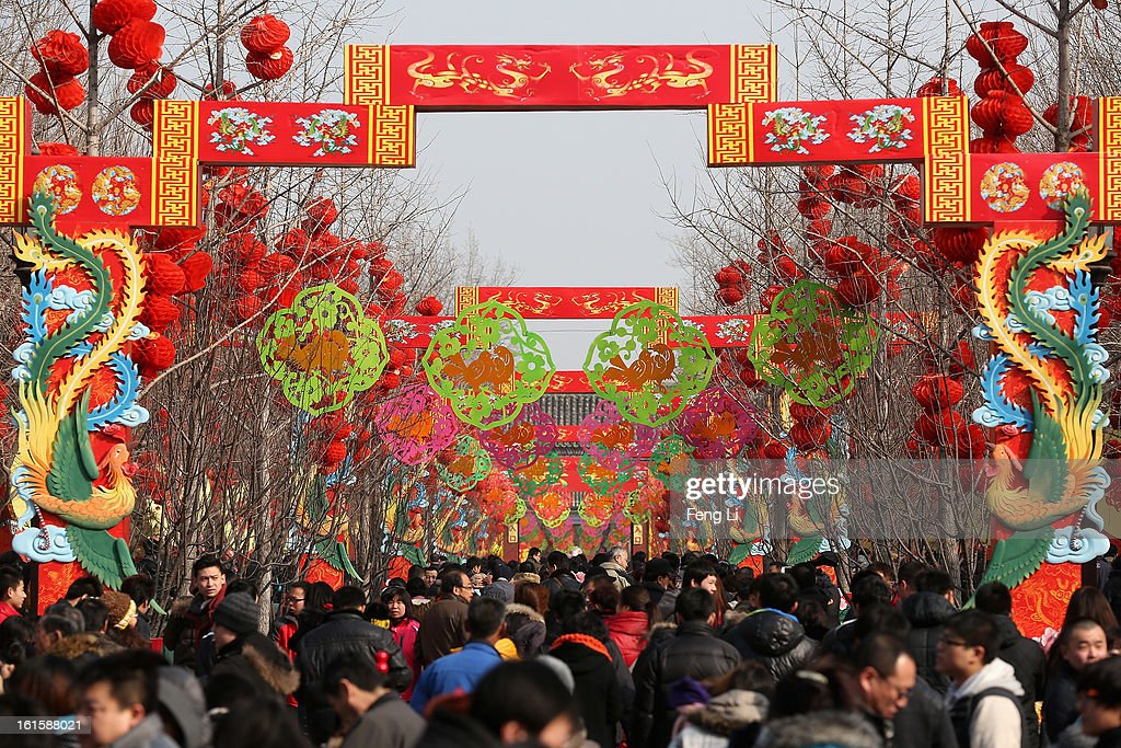 Tens of thousands of residents visit the Spring Festival Temple Fair at the Temple of Earth park on February 12, 2013 in Beijing, China. The Chinese Lunar New Year of Snake also known as the Spring Festival, which is based on the Lunisolar Chinese calendar, is celebrated from the first day of the first month of the lunar year and ends with Lantern Festival on the Fifteenth day.