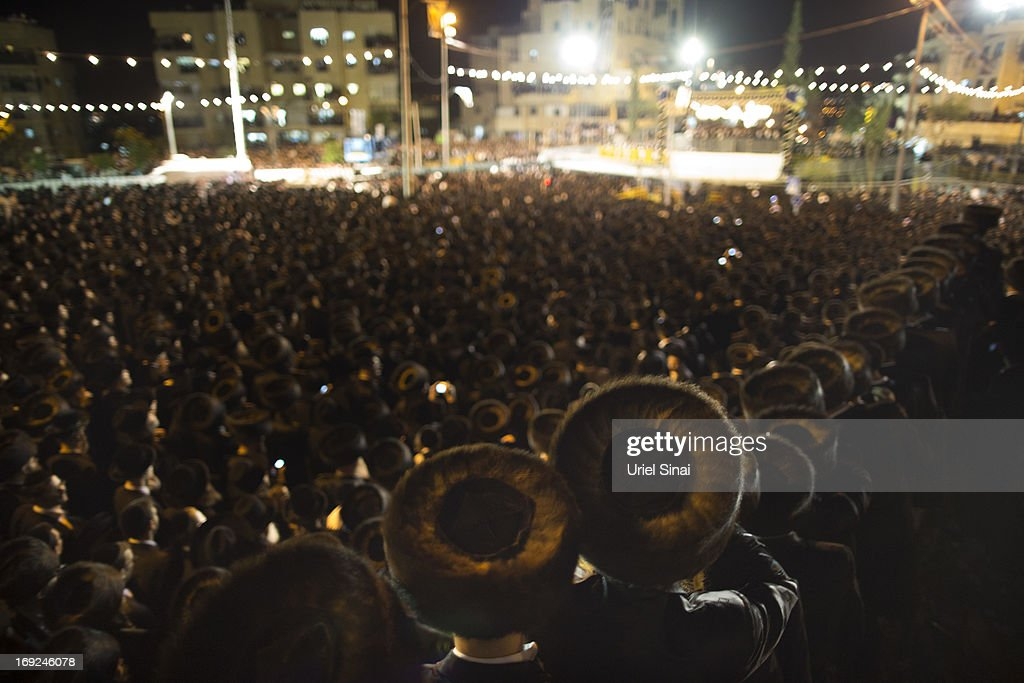 Tens of thousands of Ultra-Orthodox Jews attend the wedding of Rabbi Shalom Rokeach, the grandson of the leader of the Belz Rebbe Hasidic dynasty to Hana Batya Pener on May 21, 2013 in Jerusalem, Israel. Some 25,000 Ultra-Orthodox Jews attended one of the biggest weddings in the Ultra-Orthodox Jewish community in the past few years.
