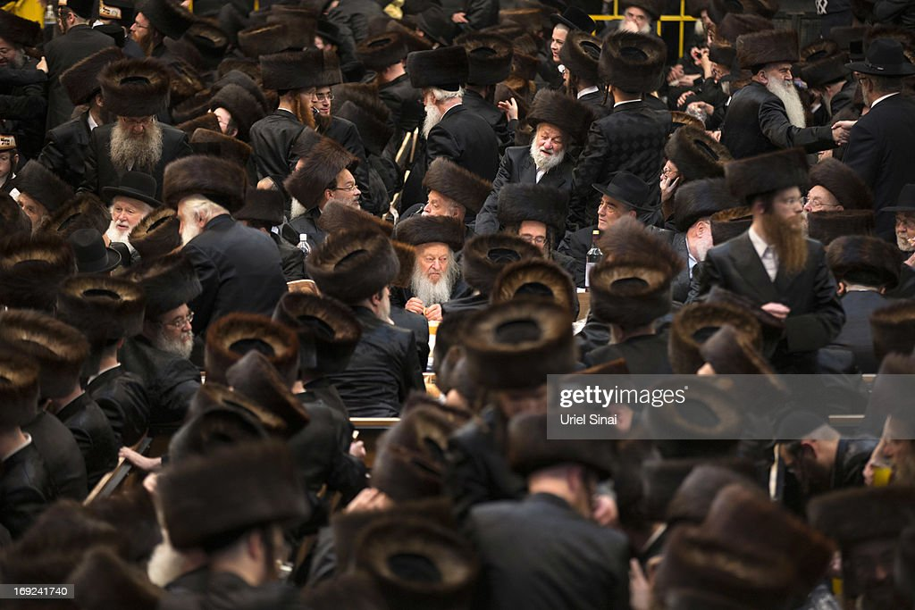Tens of thousands of Ultra-Orthodox Jews of the Belz Hasidic Dynasty take part in the wedding ceremony of Rabbi Shalom Rokach, the Grandson of the Belz Rabbi to Hana Batya Pener on May 21, 2013. in Jerusalem, Israel. Some 25,000 Ultra-Orthodox Jews participated in one of the biggest weddings of the of Ultra-Orthodox Jewish community in the past few years.