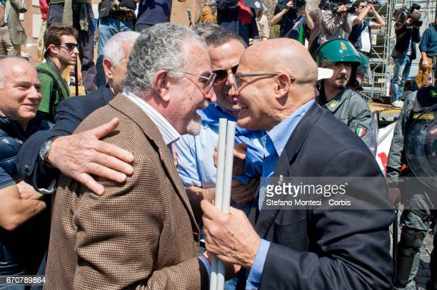 Tension between protester of the Jewish community and proPalestinian protester during the march for the Liberation of Nazifascism organised by the...