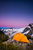 Tent at dusk, White Rock Lakes along the Ptarmigan Traverse, North Cascades, Washington