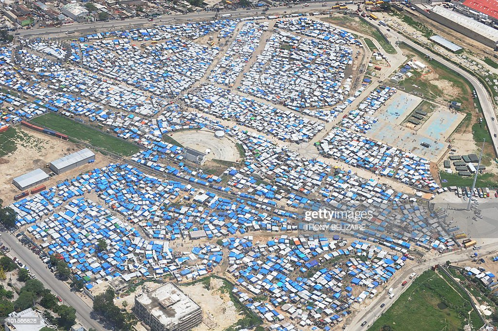 A tent city is seen in Leogane, 33 Km south of Port-au-Prince, on June 2, 2010. Haiti faces an 'immense challenge' in rebuilding after January's earthquake, President Rene Preval told a donors' conference June 2 called to speed payment of billions of dollars in pledges. AFP PHOTO / Thony BELIZAIRE