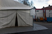 A tent for newlyarrived asylum seekers at the Landesamt für Gesundheit und Soziales the Berlin administration facility for health and social welfare...