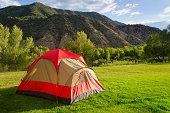 Tent in Backyard Summer Camping