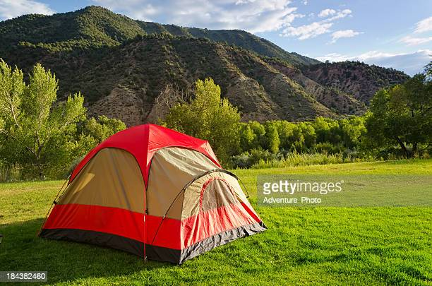 Tent in Backyard Summer Camping