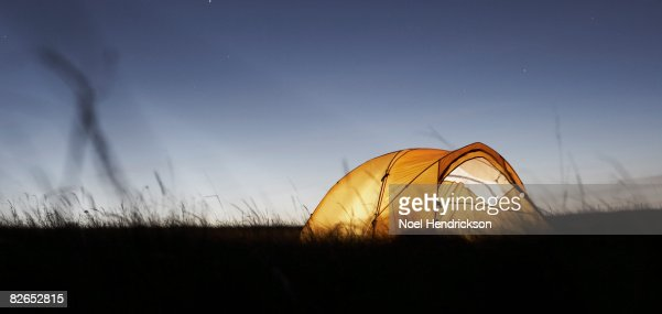 tent in field at night : Stock Photo