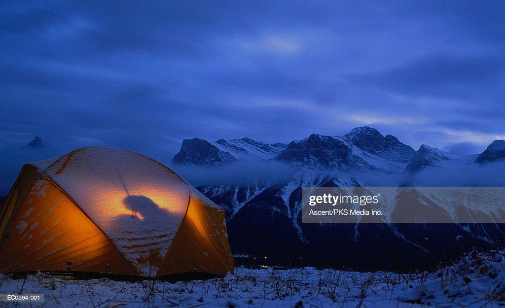 Tent on hill, Banff National Park, British Columbia, Canada, dusk : Stock Photo
