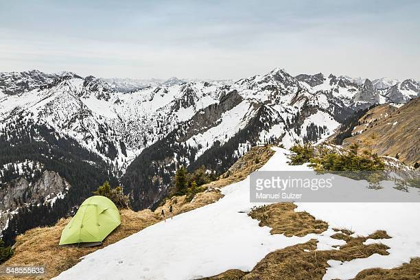 Tent perched on top of Klammspitze mountain, Oberammergau, Bavaria, Germany