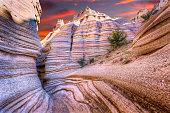 Dramatic sunrise as seen from a canyon near Cochiti, NM
