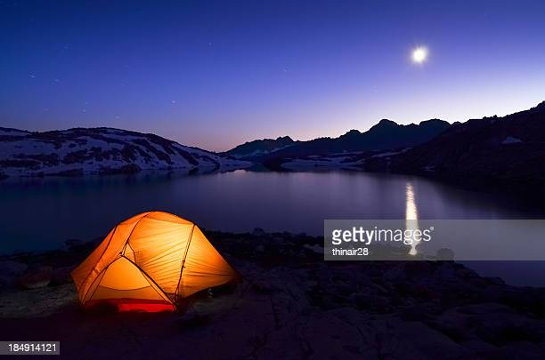 Tent with moon reflection