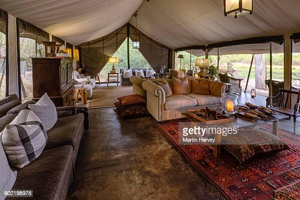 Tented lounge area of luxury Machaba Camp, Okavango Delta, Botswana