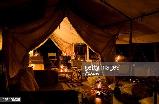 Tented safari camp by night