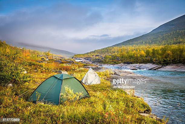 Tents along the Royal Trail in Swedish Lapland