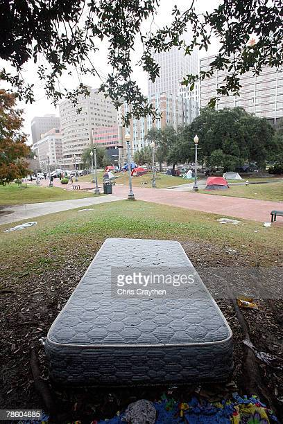 Tents and mattresses of a large homeless encampment remain scattered around Duncan Plaza near City Hall on December 21 2007 in New Orleans Louisiana...