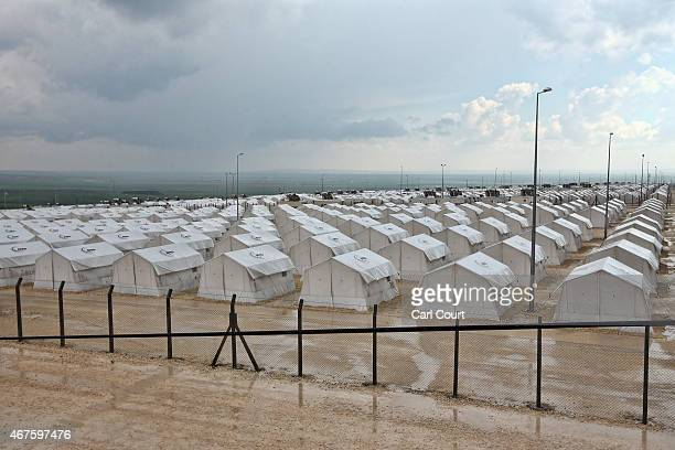 Tents are pictured in Suruc refugee camp on March 25 2015 in Suruc Turkey The camp is the largest of its kind in Turkey with a population of around...