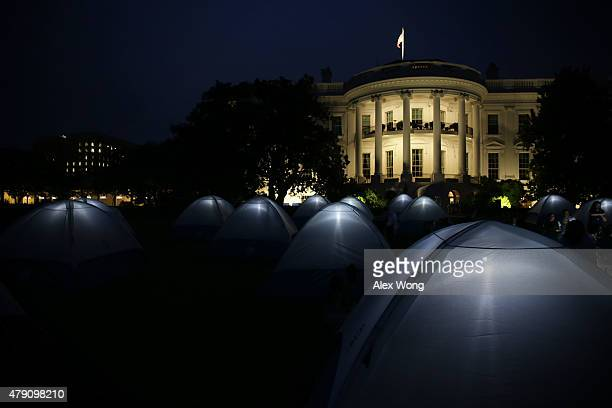 Tents are seen during the firstever White House Campout June 30 2015 at the White House in Washington DC The first lady hosted the event as part of...