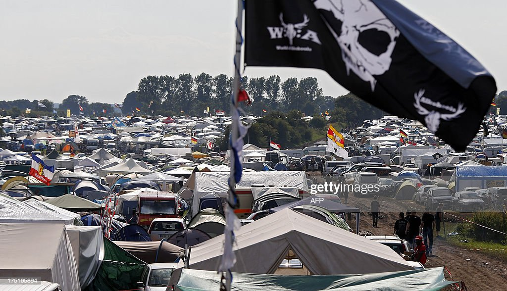 Tents are seen on a campsite during the 24th heavy metal Wacken Open Air (WOA) Festival 2013 in Wacken, northern Germany on August 1, 2013. With some 80,000 festival visitors it attracts all kinds of metal music fans, such as fans of black metal, death metal, power metal, thrash metal, gothic metal, folk metal and even metalcore, nu metal and hard rock from around the world.