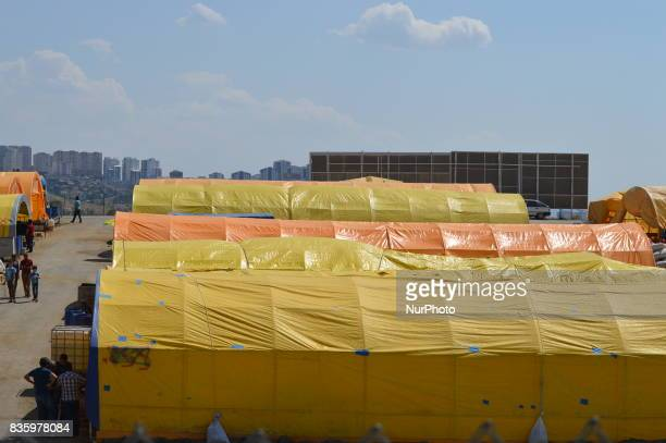 Tents can be seen at a livestock market in the Yakacik area of Ankara Turkey on August 20 2017 Shepherds have brought their animals to the market for...