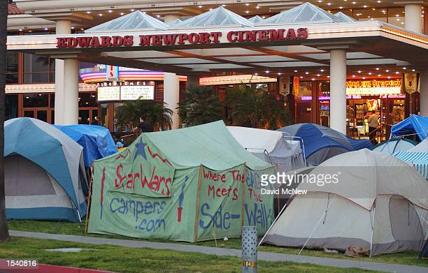 Tents cover the lawn next to the Edwards Newport Cinemas May 8 2002 in Newport Beach CA where fans are camping out to attend the opening screening of...