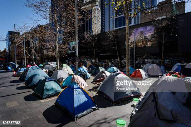 Tents erected by the homeless in Martin Place on August 6 2017 in Sydney Australia About 50 homeless residents face eviction after the state...