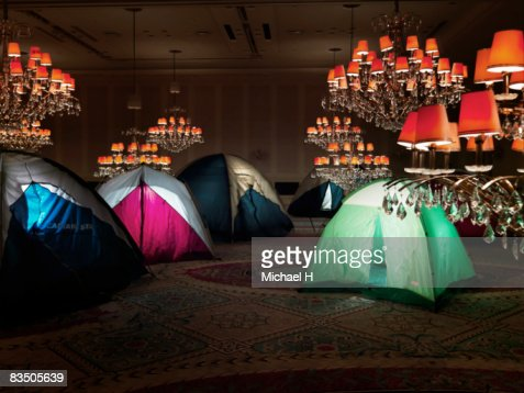Tents in a ballroom : Foto de stock